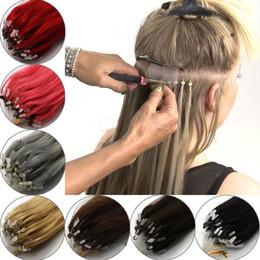 14-26 pouces 100pcs de vrais cheveux facile boucle / micro anneaux perles extensions de cheveux des femmes longue ligne droite en Solde