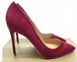$enCountryForm.capitalKeyWord Australia - 19 new style Blackish green Suede orange Women's red bottom High heeled shoes 10cm Cusp Fine heel wedding banquet Single shoes Big code 45