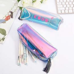 272c05e670 1Pcs Laser Clear PVC Cute School Supplies Pencil Case Tassel Kawaii for  Girls School Cosmetic Bag Women Office Supplies Escolar