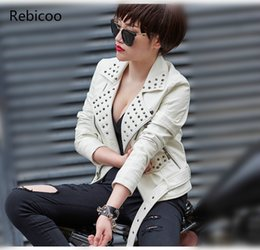 women s white motorcycle jacket Canada - Black Red White Plus SIZE 3XL 4XL Rivet Motorcycle Leather Jackets Woman 2018 Fashion Female Steerwear Short Overcoat