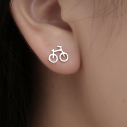 Wholesale Creative Lovely Silver Color Earrings Cute Simple Tiny Bicycle Tiny Bike Stud Earrings For Women Best Friend Gifts Ear Jewelry