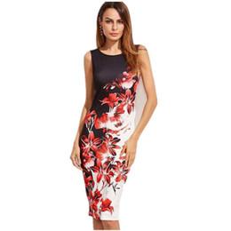Plus Size Clothing Dresses UK - 5XL Large Sizes Summer Fashion Sleeveless Print Dress Slim Bodycon Pencil Midi Office Dress Robe Plus Size Women Clothing