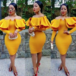 $enCountryForm.capitalKeyWord Australia - Mustard Yellow African Evening Dress Plus Size Elegant Mermaid Prom Dresses With Caped Custom Short Evening Party Dress 2020
