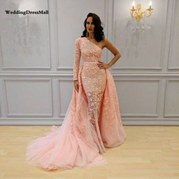pink dress patterns lace NZ - Long One Shoulder Prom Gowns Lace Arabic Pink Tulle Evening Dress 2019 with Detachable Skirt Vestido Sirena Largo