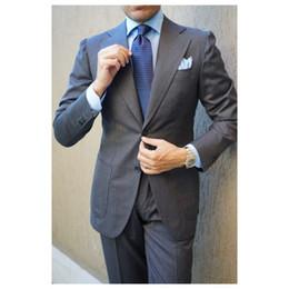 Gray Wool Suit Australia - Dark Gray Wedding Tuxedos 2019 Slim Fit Two Button Notched Lapel Business Suits Best Men Suits 3 Piece (Jacket+Pants+Tie)
