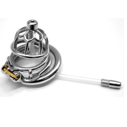 $enCountryForm.capitalKeyWord NZ - 2019 Newest Stainless Steel Male Chastity Device with Catheter Reusable Barbed Anti-off Ring Cock Cage Chastity Lock for Men G7-1-263F
