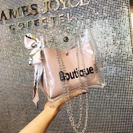 Scarf Shops Australia - Women clear bag bucket bag Fashion Transparent Women Shoulder Bags Ladies Messenger Casual Shopping Scarves Handbags