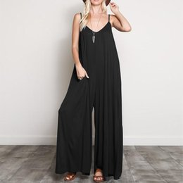 Working Women Jumpsuit Australia - Fashion 2019 Summer ZANZEA Women Jumpsuits Casual Sexy V Neck Strappy Loose Overalls Wide Leg Pants Elegant Solid Work Rompers T5190612