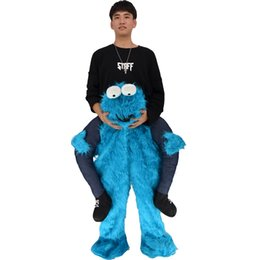 Blue Elmo UK - Elmo Stuffed Ride on Me Sesame Street COOKIE MONSTER Mascot Carry Back Fancy Dress Costums