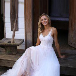 $enCountryForm.capitalKeyWord UK - Plus Size A-Line Chiffon Wedding Dresses Applique Pleats Sweep Train Lace Backless Bridal Gowns Vestidos De Noiva W606