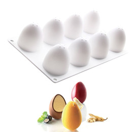 Cupcake Forms NZ - 8 Holes 3D Egg Shape Silicone Cake Mousse Mold Tools French Dessert Fondant Kitchen Bakeware Silicone Cupcake Form Mould Muffin Baking Tools