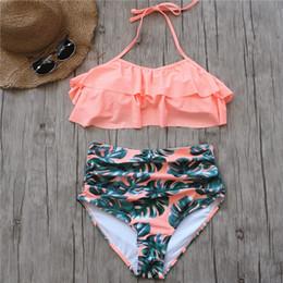 Pink Body Suits Australia - 2018 Bikini Set Double Ruffle Swimwear Women Sexy Swimsuit Off Shoulder High Waist Swim Wear Beach Bathing Suits Plus Size 3XL
