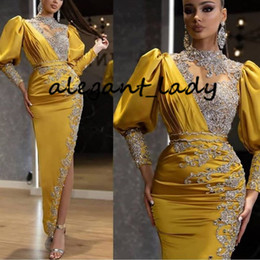 Wholesale Ankle-length Arabic Evening Formal Dresses 2020 Sparkly Crystal Beaded Lace High Neck Long Sleeve Sexy Slit Occasion Prom Dress
