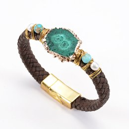Geode Quartz Beads Australia - Fashion Rope Unisex Unisex Bracelets Natural druse Druzy Geode Natural Quartz Leather Bracelet Pearl Wrapped Magnet Clasp Buckle Handmade