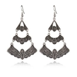 Alloy Bats Australia - Gothic Style Alloy Carved Bats Drop Earrings For Women Vintage Long Earrings Gift For New Year 2019 Indian Jewelry E1118