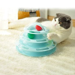 $enCountryForm.capitalKeyWord Australia - Funny Pet Toy Cat Crazy Ball Four Layers Disk Interactive Amusement Plate Kitten Game Play Disc Turntable IQ Training Products