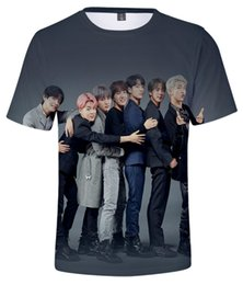 bts clothes Canada - 2019 Men's Clothing T Shirts Summer BTS 3D Color Printed Short Sleeve T-shirt Size S-4XL B500605