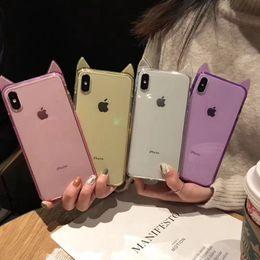 Discount clear ear phone - 3D Cat Ear Cute Soft TPU Case For Iphone XS MAX XR X XS 8 7 Plus 6 Rose Gold Ear Transparent Bling Diamond Luxury Fashio