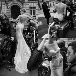 wedding dress pockets spaghetti straps 2019 - 2019 Luxury Mermaid Wedding Dresses Inbal Dror Spaghetti Straps Full Sequins Beach Wedding Dress Backless Bridal Gowns w