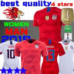 1d245b924c Copa do Mundo de 2019 América menina Camisa de Futebol CHAMPIONS casa longe Camisa  EUA mulheres 4 estrelas LLOYD RAPINOE KRIEGER Uniforme de Futebol ...