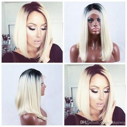 $enCountryForm.capitalKeyWord Australia - Wholesale Sexy Ombre Wigs Black Blonde Heat Resistant 1b 613# Short Bob Natural Soft Wig Glueless Synthetic Lace Front Wigs for Black Women