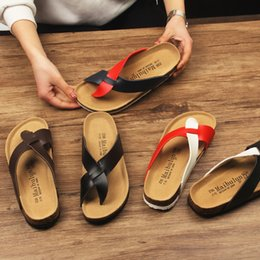korean flat slippers Australia - Thongs Modis Water Leather Flat Slippers Slides Sandal Clogs Platform Female Male Beach Cork Sandals Low Clip Korean Babouche