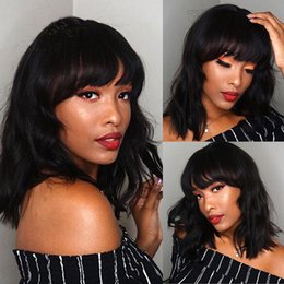 $enCountryForm.capitalKeyWord Australia - Glueless Short Wave With Bangs Lace front and Full lace Wig Brazilian Human hair Wigs With Baby Hair Natural Color For Black Women