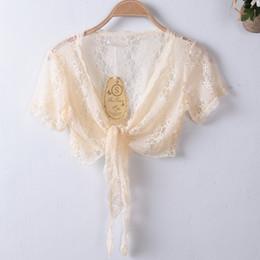 womens short cardigans 2019 - MLXSLKY Lace short sleeve summer small shawl short cardigan small large size female womens thin cardigan discount womens