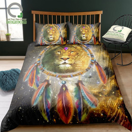 $enCountryForm.capitalKeyWord Australia - BOMCOM 3D Digital Printing Bedding Set Hand Drawn Tatoo Lion Portrait Dream Catcher Galaxy Duvet Cover Sets 100% Microfiber