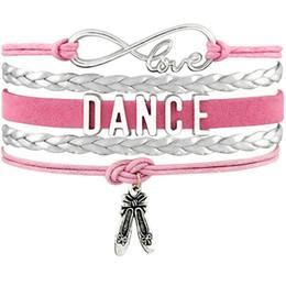 Dancer Bracelets Australia - Dance Dancer Ballet Shoes Heart Infinity Love Charm Bracelets Antique Silver Handmade Pink Jewelry Women Men Gift