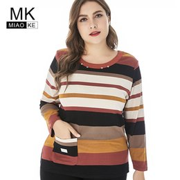 Quality Graphic Tees Australia - Miaoke 2018 Womens Plus Size Vintage Stripe Long Sleeve T-shirt Women High Quality Fashion Ladies Extensible Top Graphic Tees Y19042101