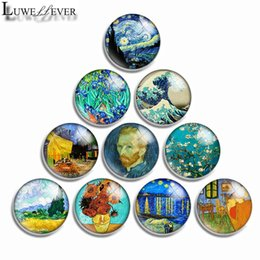 mix sale 18mm snap button Canada - 10mm 12mm 16mm 20mm 25mm 30mm 555 Gogh Painting Mixed Sale Round Glass Cabochon Jewelry Finding Fit 18mm Snap Button Charm Bracelet Necklace