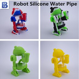 detachable smoking pipe Canada - Modern robot design glass water bong 14mm glass bowl mini bongs detachable silicone protect case glass smoking sweet pipes Siliclab packing