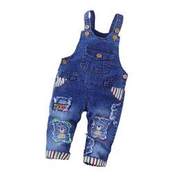 Infant Woolen Australia - good quality spring autumn Baby Boys jeans Pants kids overalls Trousers toddler boys cartoon jumpsuit infant jeans strap pants