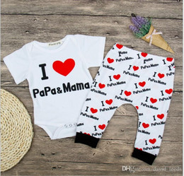 $enCountryForm.capitalKeyWord Australia - 2018 Summer Baby Boys Girls I Love PaPa&MaMa Clothing Sets Toddler Short Sleeve Romper+Pants 2pcs Set Infant Suits Kids Outfits