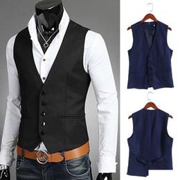$enCountryForm.capitalKeyWord NZ - New Dress Vests For Men Slim Fit Mens Suit Vest Male Waist Coat Gilet Homme Casual Sleeveless Formal Business Jacket