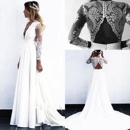 Chinese  2019 Cheap Beach Bohemian Wedding Dresses Deep V Neck Long Illusion Long Sleeves Wedding Dress Bridal Gowns vestido de novia robe de mariée manufacturers