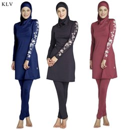 Wholesale muslim swimwear women for sale – plus size KLV Muslim Swimsuit Women Long Sleeve Muslim lslamic High Quality Full Cover Costumes Swimwear Set With Flower Printed