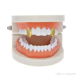 gold grillz for UK - New Silver Gold Plated Water drop shape Hip Hop Single Tooth Grillz Cap Top & Bottom Grill for Halloween Party Jewelry