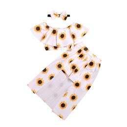 Three Piece Suit Bow Australia - Girls Sunflower Dress Suit with Hairband Girls Three-piece Clothing Sets Sun Flower Dresses Sunflower Top 1-6T