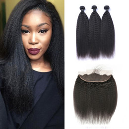 $enCountryForm.capitalKeyWord Australia - Brazilian Kinky Straight Human Hair Weaves 3 Bundles with 13x4 Lace Frontal Ear to Ear Full Head Natural Color Human Hair Extensions