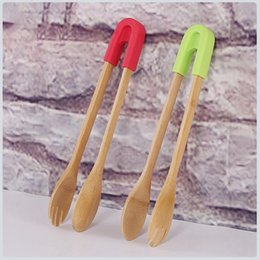 bread clamp Australia - Bamboo Bread Kitchen Tongs Food Bbq Tool Wooden Clamp Food Clip Home Decorative