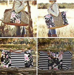 leopard design bags NZ - 9 Casual Leopard Floral Tote 22inch Striped Purse Hangbag Canvas Women Bag Leopard Design Tote KKA7001 Women's Shacc