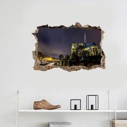 $enCountryForm.capitalKeyWord NZ - Notre Dame DE Paris Wall Broken Art Decals Vinyl 3D Famous Historical Site Wall Sticker for Living Room Bedroom Decoration Landscape Poster