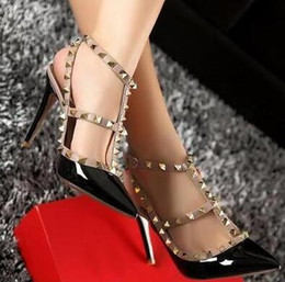 high heeled girls Australia - Hot Sale-2018 Designer women high heels party fashion rivets girls sexy pointed shoes Dance shoes wedding shoes Double straps sandals