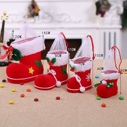 christmas shoes boots kids 2019 - 4 Size Christmas Home Decor Santa Claus Boot Shoes Stocking Kids Child Candy Gift Holder Bags Xmas Tree Decoration cheap