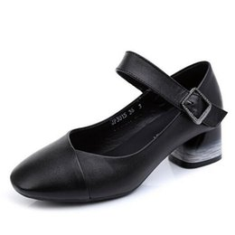 Wholesale 2019 Best selling Spring and Autumn Soft Bottom Comfortable Genuine Leather Shoes Woman High Heels Black Work Wild Fashion Shoes