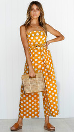 Discount women s belts bow - Women Trendy Clothing Spaghetti Strap Polka Dots Jumpsuit Playsuit with Pockets Summer Fashion Wide-leg Pants Belted Ove