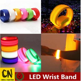 Band Belts UK - 10pcs led wrist band hand toy glow belt light led wrist straps light led flashing night light colorful wrist band 22cm Party toys