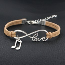 music note bangle NZ - New Braided Beige Leather Rope Infinity Love Music Note & Melody Cuff Bracelets & Bangles Charms Fashion Suede Alloy Women Men Jewelry Gifts